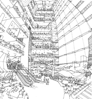 An Anamorphic view of an Office Atrium